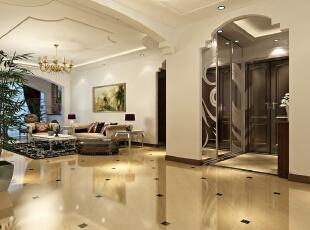 中国铁建原香漫谷138平欧式三居-客厅 设计中打破了纯古典欧式设计的观念,将古典的皇家装饰元素融入了现代风格设计,使整个空间高贵不失典雅。,138平,11万,欧式,三居,客厅,白色,黄色,