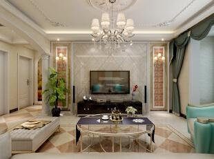客厅整体采用黄色做基调,客厅吊顶简单的石膏线做造型。电视墙用瓷砖斜铺做装饰,两侧做软包装饰。,128平,15万,欧式,三居,黄色,客厅,