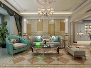 沙发墙用软包做装饰,客厅的整体色调为暖色,配合家具的冷色调进行调和,既温暖又大气。,128平,15万,欧式,三居,客厅,蓝色,