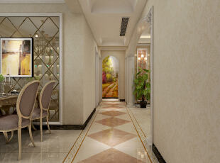 走廊顶部做造型顶进行区域划分,地面采用瓷砖斜铺的工艺。,128平,15万,欧式,三居,走廊,黄色,