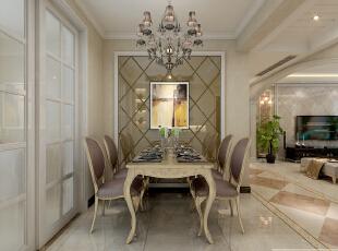 餐厅墙面用玻璃拼镜做装饰,128平,15万,欧式,三居,餐厅,粉色,