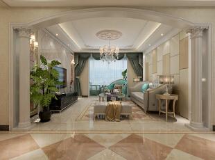 客厅整体效果展示,客厅的两侧做罗马柱造型,彰显欧式皇家气派。,128平,15万,欧式,三居,客厅,黄色,