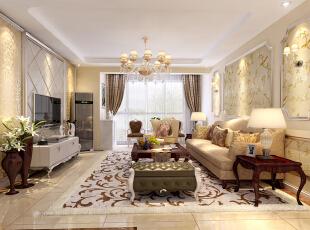 ,140平,15万,欧式,三居,客厅,白色,