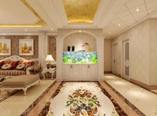 欧式风格强调以华丽的装饰、浓烈的色彩、精美的造型达到雍容华贵的装饰效果。进门玄关处通过拱形的金箔吊顶、地面精美的拼花效果以及两根华丽的罗马柱彻底烘托出欧式豪华效果,鱼缸的色彩衬托更使人眼前一亮。,180平,30万,欧式,三居,玄关,黄色,