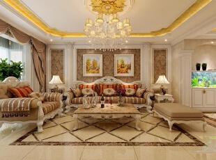 欧式客厅顶部善用大型灯池,并用华丽的吊灯营造浪漫的效果,带有花纹的石膏线收边,边缘点缀金箔,富丽堂皇恰到好处。色彩鲜艳的布艺沙发是客厅里的主角,还有浪漫的罗马帘,精美的油画。都是不可缺少的欧式元素。,180平,30万,欧式,三居,客厅,黄色,