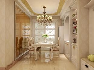 餐厅采用白色欧式经典造型,白色的卡座设计加上镂空设计的餐桌,浪漫又温馨,打掉墙做成酒柜,美观又实用。餐厅背景墙采用香槟金黄色,很好的刺激了食欲。,180平,30万,欧式,三居,餐厅,黄色,