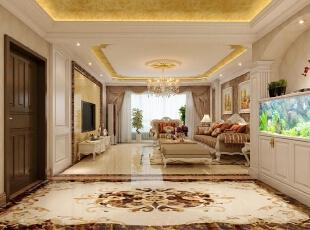 一进门放鱼缸预示着招财之意,罗马柱和拱形的门会把原始空旷的门厅显得更有内容。浪漫的罗马窗帘与沙发布艺色调很好的呼应,电视背景墙采用金黄色的大理石,沙发背景墙选用两幅油画做装饰,显得更加富丽堂皇又充满品位。,180平,30万,欧式,三居,客厅,黄色,