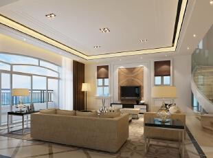 ,320平,210万,新古典,别墅,客厅,黑白,