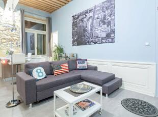 ,120平,15万,混搭,三居,客厅,蓝色,原木色,