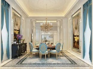 ,700平,120万,欧式,别墅,餐厅,蓝色,白色,