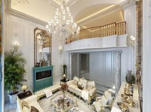 ,700平,120万,欧式,别墅,客厅,白色,