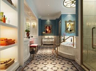 ,700平,120万,欧式,别墅,卫生间,蓝色,白色,