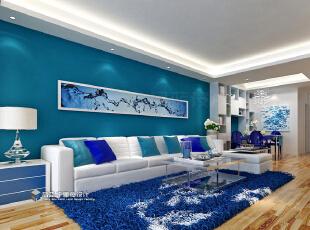 ,124.0平,9.0万,三居,现代,客厅,蓝色,白色,原木色,