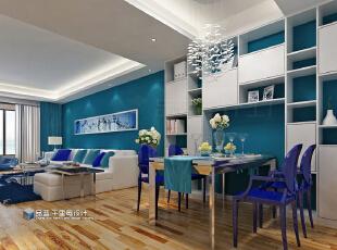 ,124.0平,9.0万,三居,现代,餐厅,蓝色,白色,原木色,