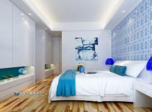 ,124.0平,9.0万,三居,现代,卧室,白色,原木色,蓝色,