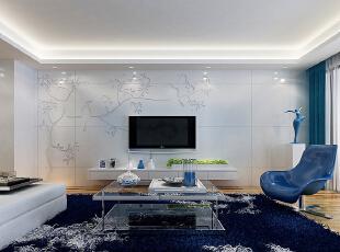 ,124平,11万,现代,三居,客厅,蓝色,白色,原木色,