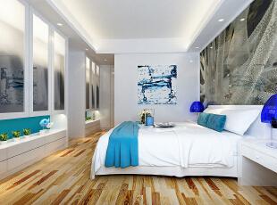 ,124平,11万,现代,三居,卧室,白色,原木色,