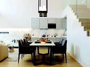 开放式的厨房和餐厅增加了空间的延续感,由于与客厅相连,在装饰选择上仍以大理石为主,但配有柔和的绒面餐椅、精心挑选的餐具、厨具,使这一区域格外温馨浪漫。,275平,90万,现代,大户型,