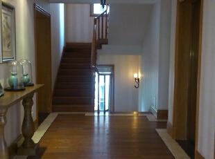 楼梯间,351平,65万,美式,别墅,玄关,现代,简约,小资,原木色,白色,