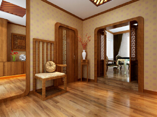 中式装修的风格不仅能够使您的屋子体现中式的传统美,而且还能够修身养心。不过说到中式的装修风格,这里边也是有很多讲究了,对于中国的传统文化得需要有足够多的了解,在中式装修风格的屋子之中摆放的如屏风、古玩之类的事物应该按照总体布局对称均衡 中式风格的代表是中国明清古典传统家具及中式园林建筑、色彩的设计造型。特点是对称、简约、朴素、格调雅致、文化内涵丰富,中式风格家居体现主人的较高审美情趣与社会地位。,121平,8万,中式,三居,玄关,原木色,