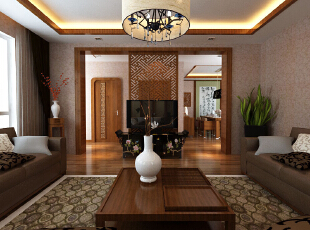 中式装修的风格不仅能够使您的屋子体现中式的传统美,而且还能够修身养心。不过说到中式的装修风格,这里边也是有很多讲究了,对于中国的传统文化得需要有足够多的了解,在中式装修风格的屋子之中摆放的如屏风、古玩之类的事物应该按照总体布局对称均衡 中式风格的代表是中国明清古典传统家具及中式园林建筑、色彩的设计造型。特点是对称、简约、朴素、格调雅致、文化内涵丰富,中式风格家居体现主人的较高审美情趣与社会地位。,121平,8万,中式,三居,原木色,客厅,