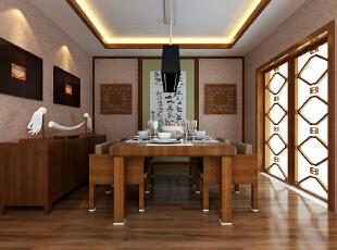 中式装修的风格不仅能够使您的屋子体现中式的传统美,而且还能够修身养心。不过说到中式的装修风格,这里边也是有很多讲究了,对于中国的传统文化得需要有足够多的了解,在中式装修风格的屋子之中摆放的如屏风、古玩之类的事物应该按照总体布局对称均衡 中式风格的代表是中国明清古典传统家具及中式园林建筑、色彩的设计造型。特点是对称、简约、朴素、格调雅致、文化内涵丰富,中式风格家居体现主人的较高审美情趣与社会地位。,121平,8万,中式,三居,餐厅,