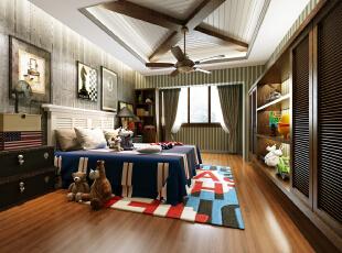 美式的儿子房,庄重而又不失玩乐,典雅而又不失可爱,300平,150万,混搭,别墅,儿童房,