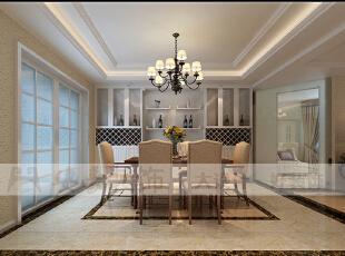简欧风格就是简化了的欧式装修风格。也是目前住宅别墅装修最流行的风格。简欧风格更多的表现为实用性和多元化。简欧家具包括床、电视柜、书柜、衣柜、橱柜等等都与众不同,营造出日常居家不同的感觉。,125平,36万,欧式,三居,餐厅,