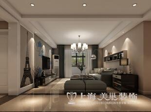 保利百合130平三室两厅现代简约装修效果图--客厅,130平,9万,现代,三居,