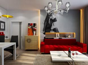 小居室功能多样,客餐厅一体的设计应注意空间利用,沙发背景墙用业主的艺术照作为背景。,80.0平,10.0万,混搭,两居,客厅,白色,