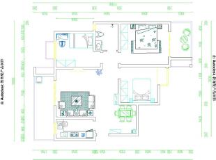 郑州方圆经纬三室两厅118平方三室两厅新中式风格——设计平面户型图由美巢装饰提供,118平,10万,中式,三居,