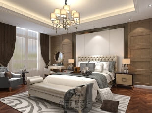 白色、金色、黄色、暗红色是欧式风格中常见的主色调,少量白色糅合,使色彩看起来明亮。壁纸采用经典却更简约的图案、复古却又时尚的色彩,这样既包含了古典风格的文化底蕴也体现了现代流行的时尚元素,是复古与潮流的完美融合。家具上传承鼎新,以简饰繁,家具式样要精炼、简朴,雅致;装饰文雅。曲线少,平直表面多,显得更加轻盈优美 家具上传承鼎新,以简饰繁。,500平,200万,新古典,别墅,卧室,