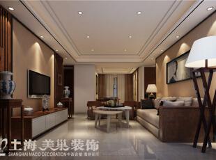 天骄华庭138平三室两厅新中式风格装修案例——客厅装修效果图,138平,10万,中式,三居,客厅,