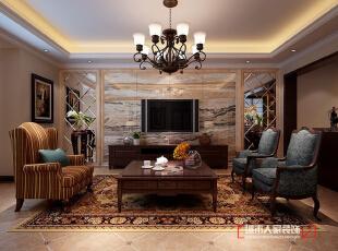 客厅,美式,复式,客厅,负一层,