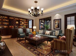 客厅,美式,复式,客厅,书柜,