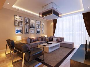 ,116平,7万,现代,三居,沙发背景,暖色,简约,