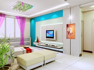各种风格的客厅电视背景墙装修效果图(4),30平,2万,现代,两居,客厅,