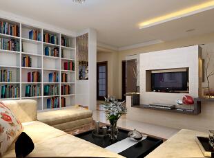 客厅的落地书柜为整个空间添加了些许的书香气息,沙发组的选择与个性韵味十足的茶几搭配,使温馨充满了整个居室,让疲惫的身心在回到家的这一刻得到了放松感。,173平,15万,现代,三居,客厅,