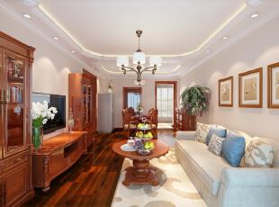 设计理念:整个设计以米黄为空间,在软装上,以米黄色系为基调,雅致的家具,精美的饰品为搭配,使空间有了心灵上的变化。沉稳的家具为崇尚高品质生活的人群打造出慢摇自然素雅的美式居所。,95平,8.7万,美式,两居,客厅,