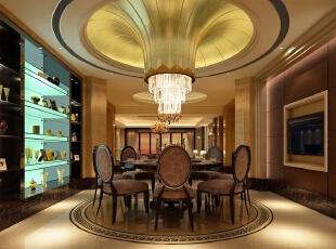 餐厅,圆形的顶配上圆餐桌,还有地面理石,三者相呼应。,300平,35万,现代,一居,小资,黑白,黄色,