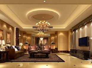客厅空间比较宽敞,运用了比较中性的米色,和凡尔赛花纹大理石。,300平,35万,现代,一居,新古典,小资,黄色,黑白,