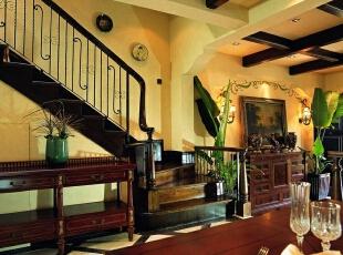 美式乡村_别墅装修,700平,70万,美式,别墅,楼梯,