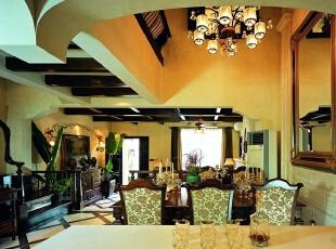 美式乡村_别墅装修,700平,70万,美式,别墅,餐厅,