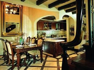 美式乡村_别墅装修,700平,70万,美式,别墅,餐厅,厨房,