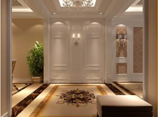 简单明亮的独特欧式风格门厅,138平,7万,欧式,三居,玄关,