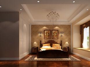 简单明亮的独特欧式风格卧室,138平,7万,欧式,三居,卧室,