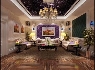影视厅:颇具风情的壁画,现代化的影视厅,就这么散发着欧式的韵味。现代时尚邂逅,碰撞出的是更精美高端的别墅装饰设计,和更高品质的生活享受。,400平,50万,欧式,别墅,