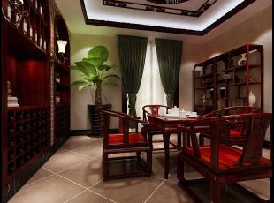 茶室:采用中西合璧,体现品味人生。中式的国粹精华——茶道,三五好友,一壶香茗,感悟品味;西式的红酒柜镶入墙体,背景墙彰显了品质与内涵。,400平,50万,欧式,别墅,