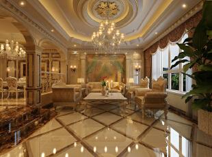 会客厅:室内在着繁缛雕刻的手艺装饰和陈设上表现出一种恒久的艺术气息。然后,再利用色彩华丽且用暖色调加以协调,让变形的直线与曲线相互作用。,400平,50万,欧式,别墅,原河名墅装修,客厅,