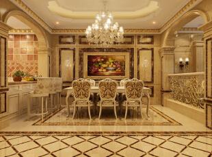 餐厅:大理石、全抛釉瓷砖、质感涂料,水晶大吊灯让我们更是金碧辉煌,暖金色调不仅彰显了我们的贵族气质,又增加了我们的食欲。,400平,50万,欧式,别墅,原河名墅装修,餐厅,